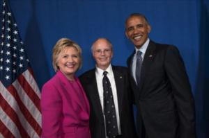 President Barack Obama, Hillary Clinton and Mark Erwin